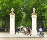 Cyclists at city Park Gates in Brussels Royalty Free Stock Photos