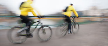 Cyclists on the city roadway Royalty Free Stock Image