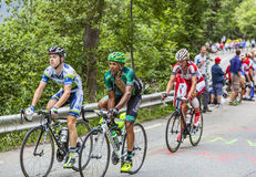Cyclists Climbing Alpe D'Huez Stock Photography