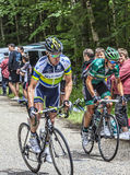 Cyclists Climbing. Col du Granier,France-July 13th, 2012:  Two cyclists (the Australian Stuart O'Grady from Orica Greenedge and the French Davide Malacarne from Royalty Free Stock Image