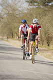 Cyclists close together Royalty Free Stock Images