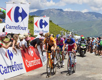 Cyclists on Col de Val Louron Azet Royalty Free Stock Image