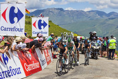 Cyclists on Col de Val Louron Azet Stock Photo
