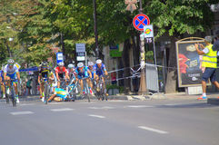 Cyclists collide at race finish Royalty Free Stock Photos