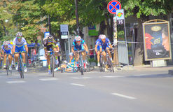 Cyclists collide at race finish stock image