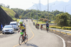Cyclists compete in the Khao Sok marathon Royalty Free Stock Photo