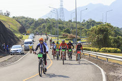 Cyclists compete in the Khao Sok marathon Stock Images
