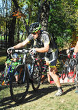 Cyclists competing in cyclocross race Stock Image