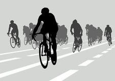 Cyclists in competition Royalty Free Stock Images