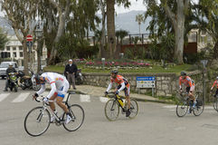Cyclists competition royalty free stock photography