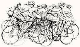 Cyclists in competition. Vector illustration of a group of cyclists in competition Stock Illustration