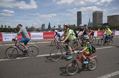 Cyclists crossing Waterloo Bridge London UK Royalty Free Stock Images