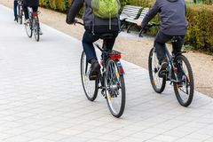 Cyclists on a cycle path. Picture of cyclists on the move on a cycle path Stock Image