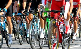 Cyclists during a cycle road race in Europe Stock Images