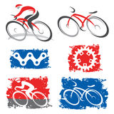 Cyclists and cycling elements icons Stock Photos