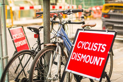 Bicycle sign, Cyclists Dismount Royalty Free Stock Photo