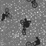 Cyclists doing stunts on space background. Silhouettes of people against the starry sky. Vector illustration Stock Image