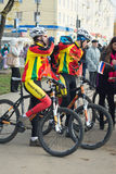 Cyclists in duffle with the inscription Tver region Royalty Free Stock Photo