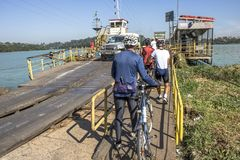 Free Cyclists Entrance In Ferry Boat Stock Photo - 114639250