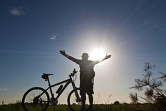 Cyclists,feeling Succeed Stock Photo