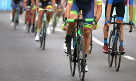 Cyclists during the final sprint to win the stage of the cycling. Group of cyclists during the final sprint to win the stage of the cycling race Royalty Free Stock Image