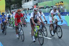 Cyclists after finish Rio 2016 Olympic Cycling Road competition of the Rio 2016 Olympic Games in Rio de Janeiro Royalty Free Stock Images