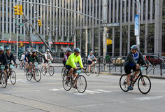 Cyclists on the Five Boro Bike Tour in New York Stock Photo