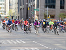 Cyclists on the Five Boro Bike Tour in New York Stock Image