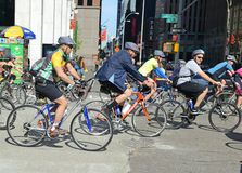 Cyclists on the Five Boro Bike Tour in New York Royalty Free Stock Images