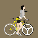 Cyclists and fixed gear bicycle. Vector and Illustration Stock Photo