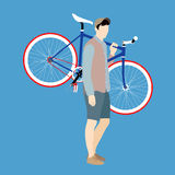 Cyclists and fixed gear bicycle Stock Photos