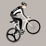 Cyclists and fixed gear bicycle. Vector and Illustration Stock Image