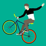 Cyclists and fixed gear bicycle. Vector and Illustration Stock Images