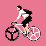 Cyclists and fixed gear bicycle. Vector and Illustration Stock Photos