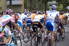 Cyclists at the Giro d'Italia. Bicyclis at the international cycling event Giro d\'Italia Royalty Free Stock Photos