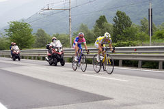 Cyclists at the Giro d'Italia. Two bicyclists at the international cycling event Giro d'Italia Royalty Free Stock Photography