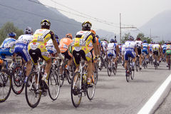Cyclists in Giro d'Italia. Bicyclists at the international cycling event Giro d\'Italia Royalty Free Stock Photos