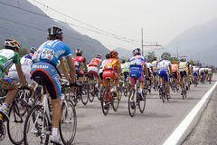 Cyclists at the Giro d'Italia. Bicyclists at the international cycling event Giro d\'Italia Stock Image