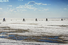 Cyclists go on ice of the Ob sea Royalty Free Stock Images