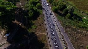 Cyclists group riding on country highway on bike ride. Bicycle racing on highway stock video