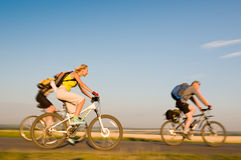 Cyclists In Motion Stock Photo