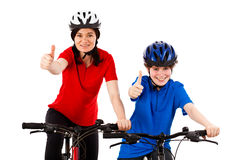 Cyclists isolated on white background Royalty Free Stock Image