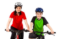 Cyclists isolated on white background Royalty Free Stock Photo