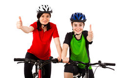 Cyclists isolated on white background Royalty Free Stock Images