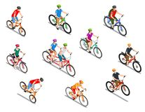 Cyclists Isometric Icons Set. Cyclists with helmets during extreme ride tandem and tourist trip set of isometric icons isolated vector illustration vector illustration
