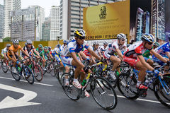 Cyclists on Jalan Ampang at the le Tour d Langkawi. This is the seventh stage of the international bicycle race, le Tour de Langkawi held in city of Kuala Lumpur Stock Photo