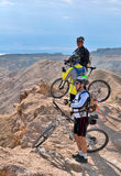 Cyclists in the Judean Desert. The Dead Sea area, the top of Mount Sodom Royalty Free Stock Images