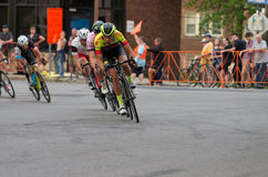 Cyclists Lead Pack at Uptown Criterium Royalty Free Stock Image
