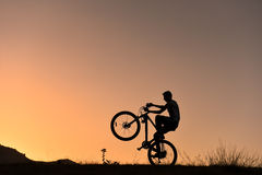 Cyclists life. Cycling for a healthy life.crazy biker and bicycle royalty free stock photography