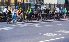 Cyclists in London (hdr) Stock Photo